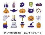 halloween icon set. hand drawn... | Shutterstock .eps vector #1675484746