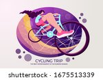 young  pretty girl riding a two ... | Shutterstock .eps vector #1675513339