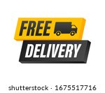 free delivery. badge with truck.... | Shutterstock .eps vector #1675517716