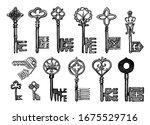 victorian keys. medieval gothic ... | Shutterstock .eps vector #1675529716