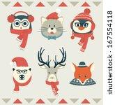 set of animal heads   winter...   Shutterstock .eps vector #167554118