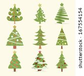 set of christmas trees  ... | Shutterstock .eps vector #167554154