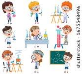 little students doing chemistry ...   Shutterstock .eps vector #1675548496