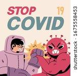 fight with coronavirus concept. ... | Shutterstock .eps vector #1675558453