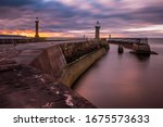 Dusk At Whitby Harbour From Th...