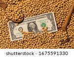 one dollar and soy beans... | Shutterstock . vector #1675591330