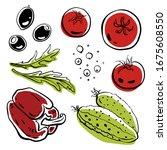 bell pepper  cucumber  tomato ... | Shutterstock .eps vector #1675608550