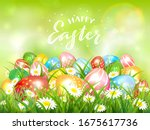 easter theme with colorful eggs ... | Shutterstock . vector #1675617736