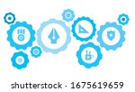 connected gears and icons for... | Shutterstock .eps vector #1675619659