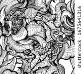 graphic vintage floral pattern... | Shutterstock .eps vector #1675641316