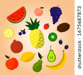 set with hand drawn colorful...   Shutterstock .eps vector #1675687873