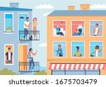neighbors in their apartments... | Shutterstock .eps vector #1675703479