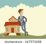 estate agent and house | Shutterstock .eps vector #167571038