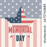 happy memorial day  flag shaped ... | Shutterstock .eps vector #1675743889