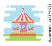 fun fair carnival carrousel... | Shutterstock .eps vector #1675744336