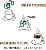 drip coffee making by steps   Shutterstock .eps vector #1675773469