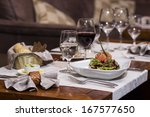 smoked salmon served on a plate - stock photo