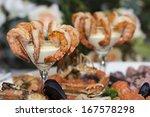 shrimp cocktail, prawn cocktail, appetizer - stock photo