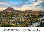 Urban sunset over downtown Scottsdale Arizona - stock photo