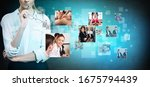 business woman looks on images... | Shutterstock . vector #1675794439
