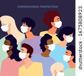 people with medical face mask ... | Shutterstock .eps vector #1675808923