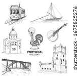 portugal elements and symbols.... | Shutterstock .eps vector #1675825276