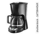 Auto Drip Coffee Maker Isolated on White. Black Plastic & Glass Automatic Espresso Machine or Coffeemaker. Modern Drip Coffee Pot. Electric Kitchen Small Appliance. Domestic & Household Appliances