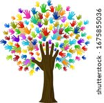 many leaves hand shaped tree... | Shutterstock .eps vector #1675855036