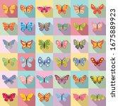 butterfly icons set. flat set... | Shutterstock .eps vector #1675889923
