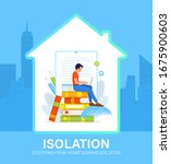 self isolation concept. young... | Shutterstock .eps vector #1675900603