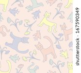 seamless pattern with cute cats ... | Shutterstock . vector #167590349