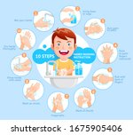 boy shows the process of... | Shutterstock .eps vector #1675905406