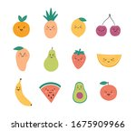 funny fruits and berries. set...   Shutterstock .eps vector #1675909966
