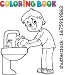 Coloring Book Boy Washing Hand...