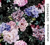 seamless floral pattern with... | Shutterstock . vector #1675949923
