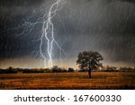 rainstorm over beautiful... | Shutterstock . vector #167600330