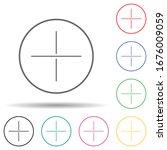plus sign multi color set icon. ...