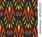 ikat seamless pattern design... | Shutterstock .eps vector #1676022253