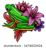 cute frog cartoon. cartoon frog ... | Shutterstock .eps vector #1676023426