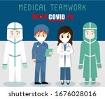 stop covid 19  medical teamwork ... | Shutterstock .eps vector #1676028016