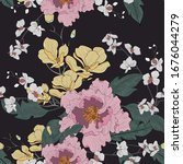 beautiful seamless floral... | Shutterstock .eps vector #1676044279