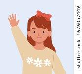 smiling girl are waving hand in ... | Shutterstock .eps vector #1676057449