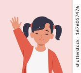 smiling girl are waving hand in ... | Shutterstock .eps vector #1676057476