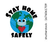 stay home safely  text with... | Shutterstock .eps vector #1676061709