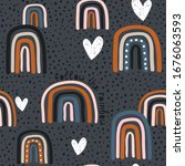 childish seamless pattern with... | Shutterstock .eps vector #1676063593