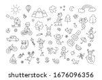 happy children in summer park.... | Shutterstock .eps vector #1676096356