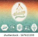 retro vintage style restaurant... | Shutterstock .eps vector #167611103