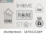 stay home  calligraphic symbol... | Shutterstock .eps vector #1676111269