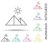 pyramids multi color set icon....