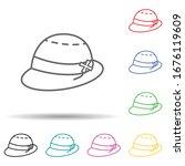 sun hats multi color set icon....